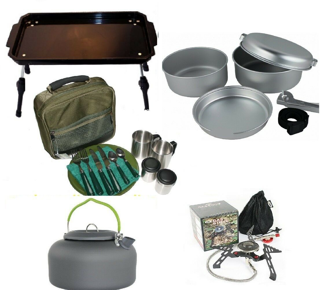 Carp Fishing Bivvy Table Cutlery Cook set Kettle With  Stove  Coarse Camping