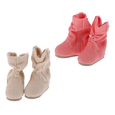 Handmade Fashion Shoes 2 Pairs Lace up Flat Ankle Boots for 1//6 Blythe Doll