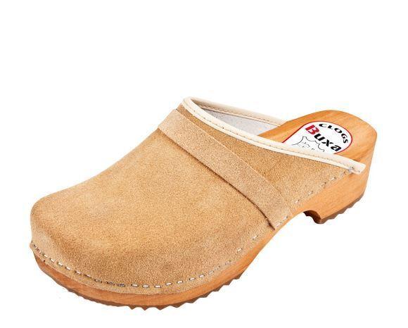 Zuecos De Madera Color Beige Gamuza Estilo Sueco nos. tamaño de zapato (mujer)