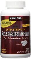 Kirkland Extra Strength Acetaminophen 500 Mg 500 Caplets, Pain Reducer Exp 2019