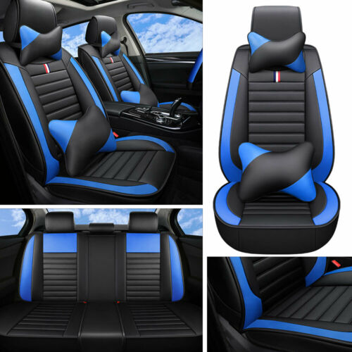 Deluxe Car Seat Covers PU Leather 5-Sits Cushions Front Rear Full Surrounded Set