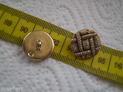 Mantel Knopf altgold Geflecht Optik  Bouton Button Botón Gomb düğme