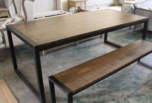 Tavolo Stile Industriale : Tavolo in ferro e legno massello 120x80 in stile industriale vintage