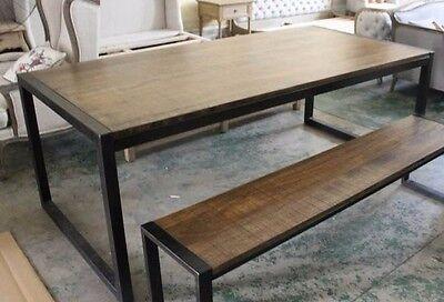 Tavoli In Ferro E Legno.Tavolo In Ferro E Legno Massello 120x80 In Stile Industriale