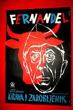 LA VACHE ET PRISONNIER 1959 ITALIAN COW AND I FERNANDEL RARE EXYU MOVIE POSTE