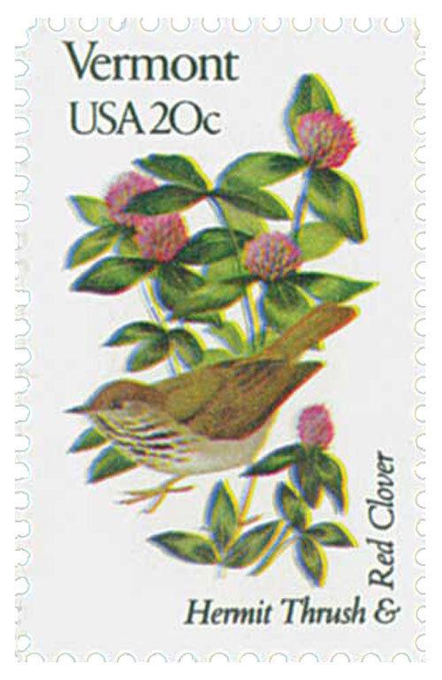 1982 20c State Birds & Flowers, Vermont, Thrush & Red C