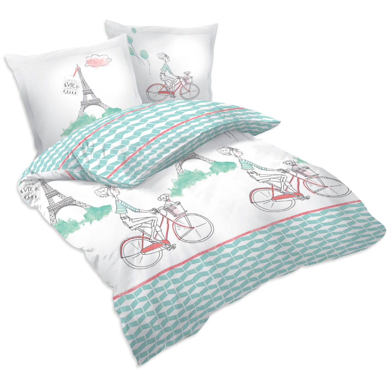 Bike in Paris - SoulBedroom 100% Cotton Bed Set (Duvet Cover & Pillow Cases)