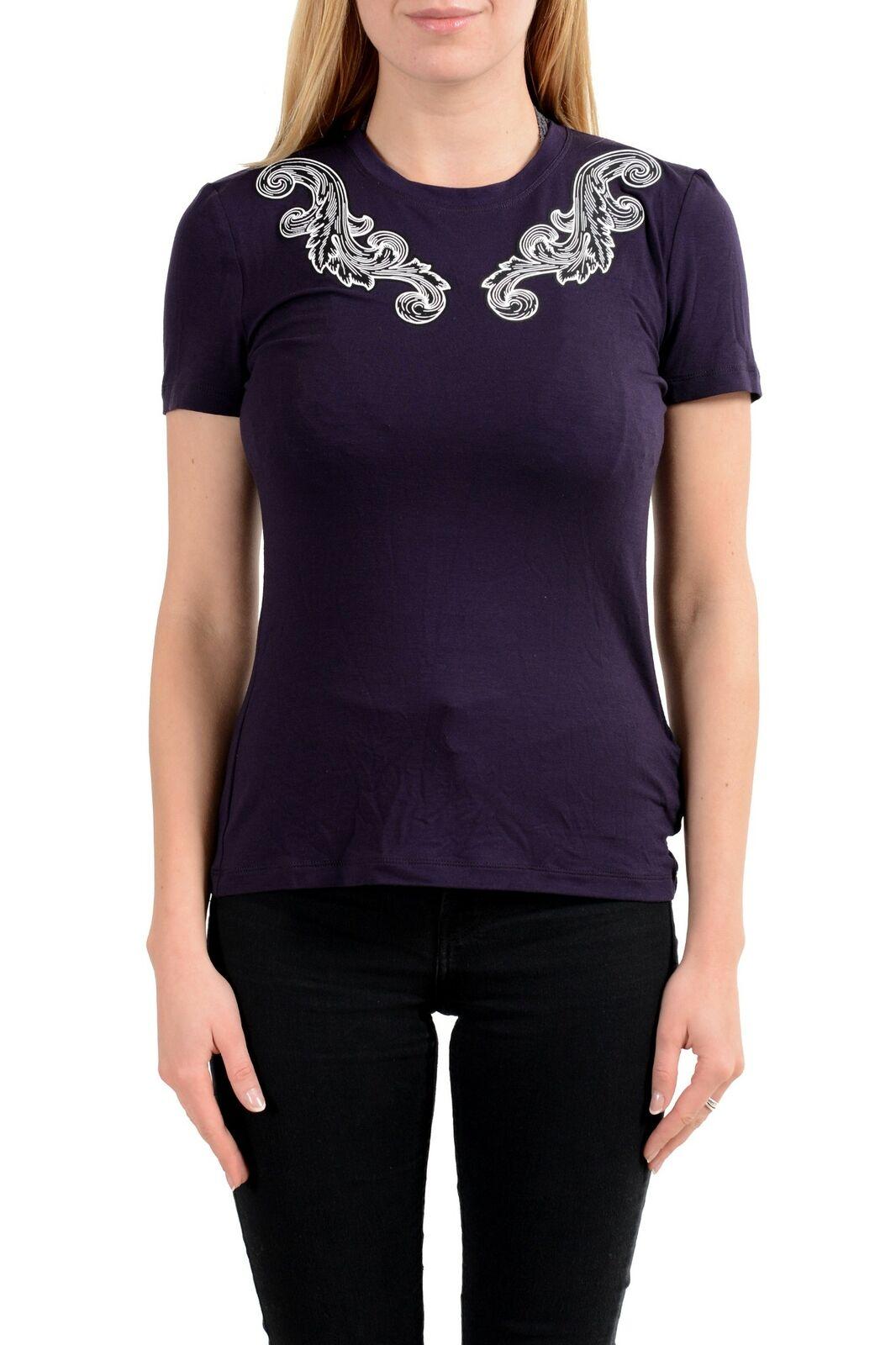 Versace Collection Damen Lila Designiert Rundhalsausschnitt Kurzarm T-Shirt