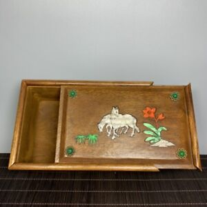 Collect Noble Boxwood Inlay Conch horse Usable Precious big Jewelry Box boxes