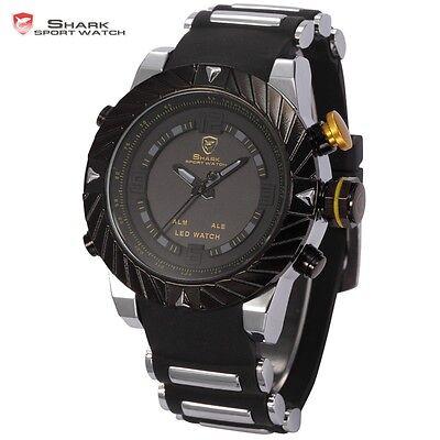 Shark Fashion Men's LED Digital Date Day Silicone Quartz Sport Army Wrist Watch