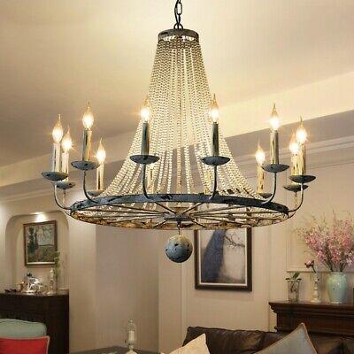 Rustic Crystal Bead Strands Chandelier Metal Wheel Bedroom Light Fixture 8 Light Ebay