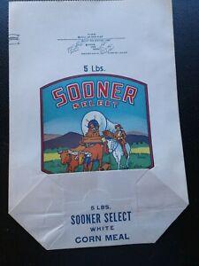 New-Vintage-SOONER-SELECT-White-Corn-Meal-5-Lb-Paper-Bag-OZMUN-amp-CO-Oklahoma
