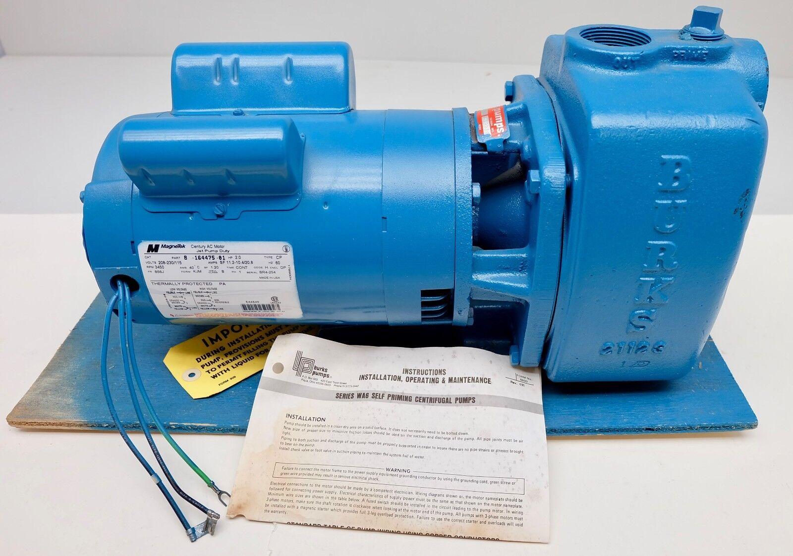 Burks 20WA6 Centrifugal Pump Single Phase 3450rpm 2.0hp MAGNETEK Jet ...