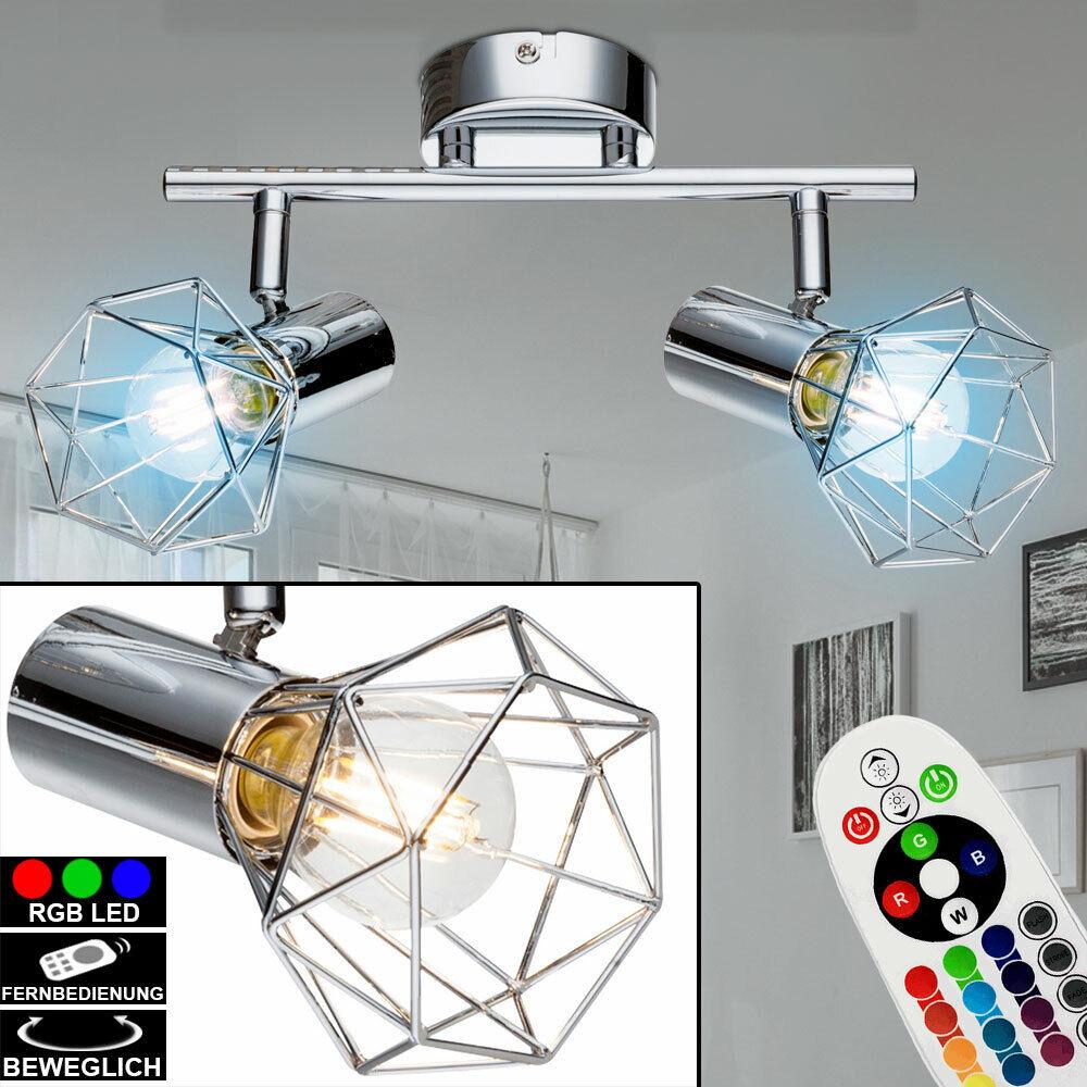 RGB LED ceiling spotlight dimmer lamp spot light remote control swivel chrome