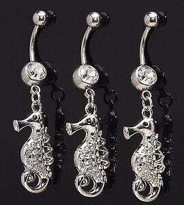 1-Single-Fancy-Sea-Horse-Gem-Dangle-Belly-Ring-14g-Gemstone-CZ-Navel-889-Animal