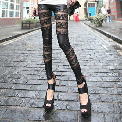 New Sexy Black Ripped Torn Slashed Cut Striped Leggings Pants GOTH Club Punk ALI