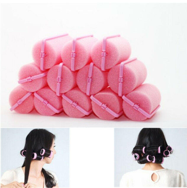 12Pcs Magic Sponge Foam Cushion Hair Styling Rollers Curlers Twist Tool   GRAU