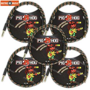 """Doux 5-pack Porc Hog Rasta Stripe 3 Ft (environ 0.91 M) Câbles De Raccordement 1/4"""" Neuf-afficher Le Titre D'origine Promouvoir La Production De Fluide Corporel Et De Salive"""