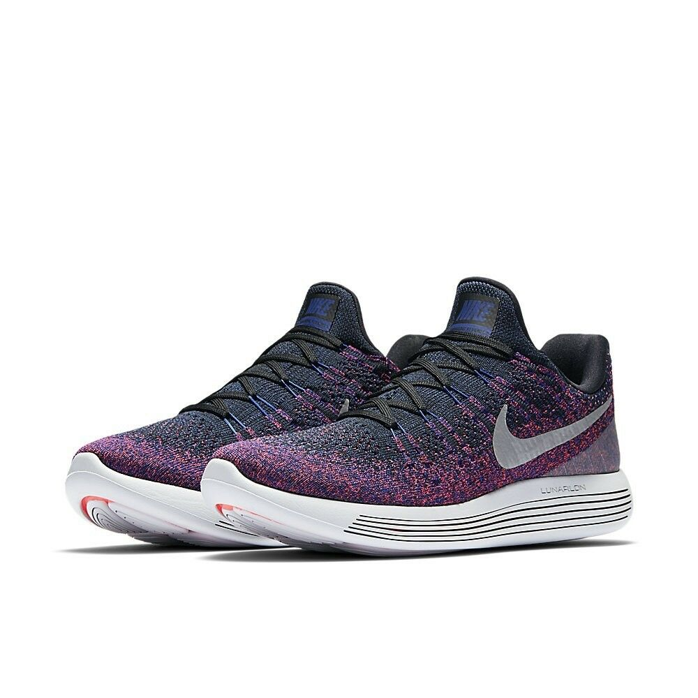 Nike Lunarepic Low Flyknit 2 Size 10 Run shoes Black Reflect Silver 863779 015