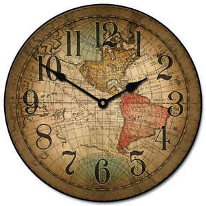 Vincenzo world map large wall clock 10 48 quiet non ticking wood image is loading vincenzo world map large wall clock 10 034 gumiabroncs Image collections