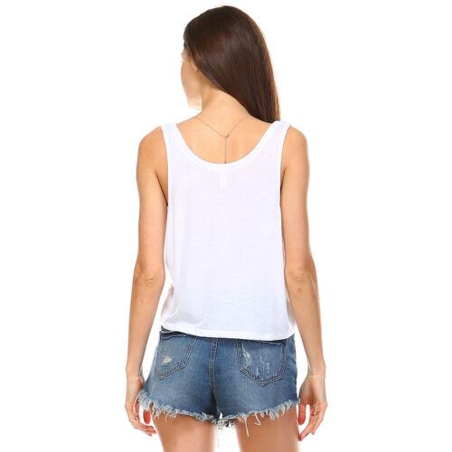 New Womens White Crop Boxy Tank Top Tops Fashion Loose Flowy Sport Shirt S M L