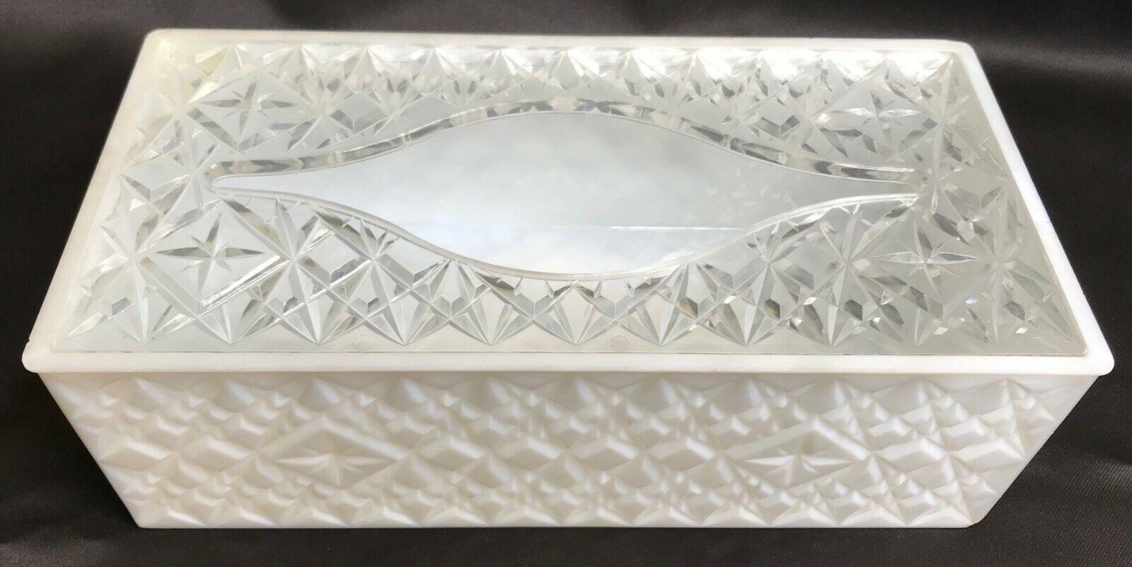 VTG Tissue Box Cover Plastic White Clear Quilted Diamond Starburst Lucite MCM