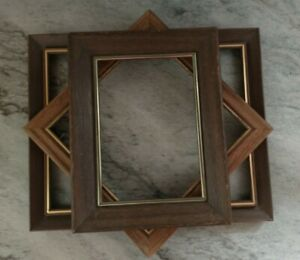 Vintage 3 Wood PICTURE FRAME Lot Recycle Arts Crafts Project Deco geo gold trim