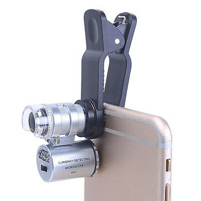 60x Zoom Led Mikroskop Micro Objektiv Silber Portable Teleskop Handy Lupe Ebay