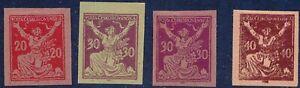 TSCHECHOSLOWAKEI 1920 Kettenspringerin 20H, 30H (2) u 40H, 4 versch. PROBEDRUCKE