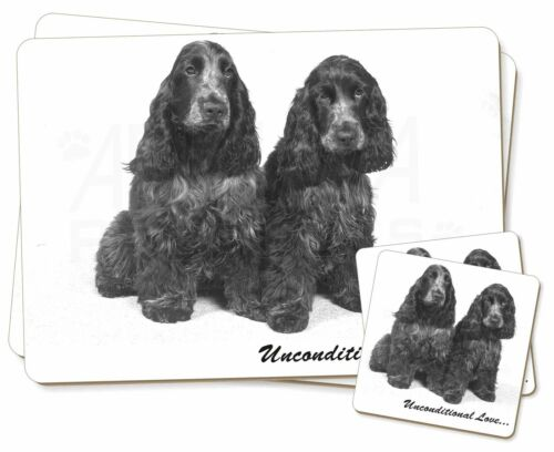 AD-SC1uPC Cocker Spaniel Dogs-With Love Twin 2x Placemats+2x Coasters Set in Gi
