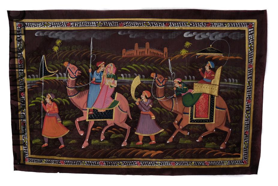 Tenture Murale Peinture Moghole sur Soie Art Scene de vie Inde 70x46cm 31