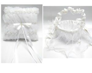 NEW-Wedding-Flower-Girl-Basket-Ring-Pillow-Pearl-w-Lace-Flowergirl-White-Ivory