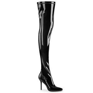 "Pleaser CLASSIQUE-3000 Shiny Black Patent 4"" Heel Womne's Night Club Thigh Boot"