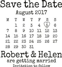 Personalised Vintage SAVE THE DATE Wedding Rubber Stamp *NEW* + FREE BLACK PAD