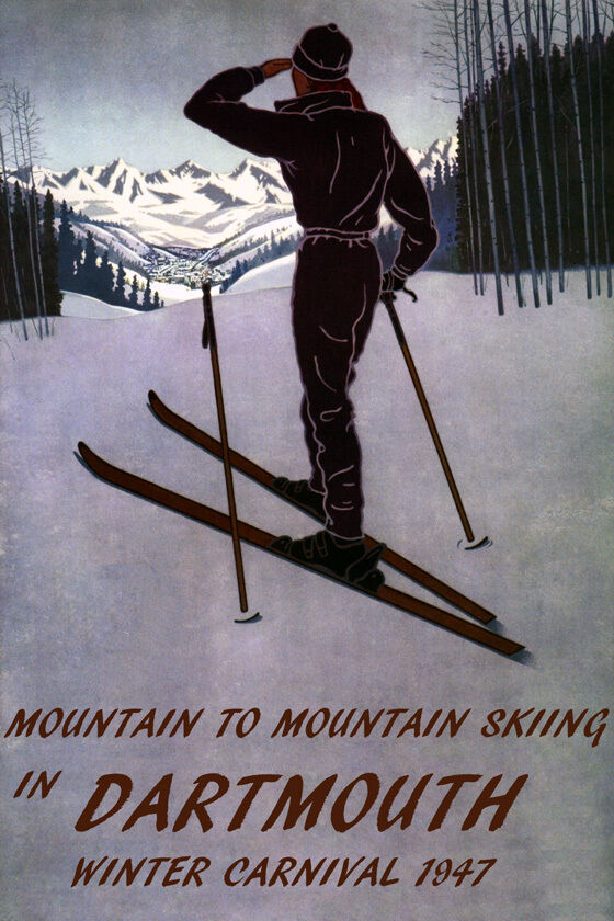 DOWNHILL MOUNTAIN SKIING SKI DARTMOUTH 1947 WINTER CARNIVAL VINTAGE POSTER REPRO