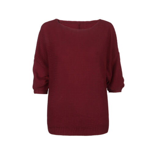 Damen Fledermausärmel Solide Pulli Strickpullover Langarmshirt Blusen Top 34-44