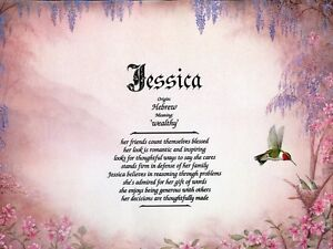 """""""Hummingbird"""" Name Meaning Print Personalized (Animals)"""