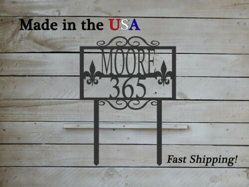 Yard Stake House Number Fleur De Lis Modern Design with Name Sign HN1194