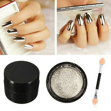 Argent Brillant Miroir Poudre Effet Métallique Dust Chrome Pigment Nail arts