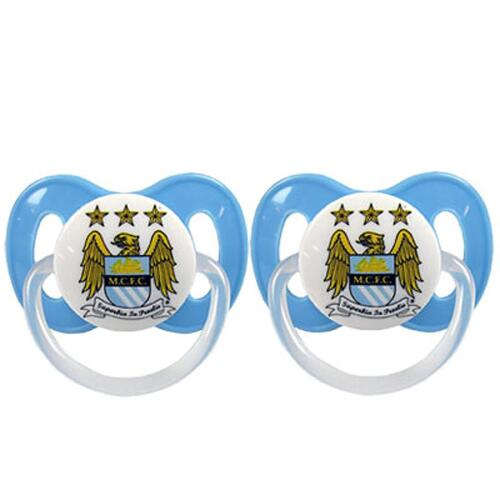Manchester City FC Babies Soothers Dummies Twin Pack Baby Shower Gift