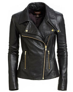 New-Women-039-s-Black-Slim-Fit-Biker-Style-Moto-Real-Leather-Jacket