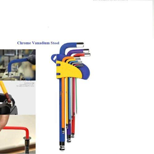 flat Hex Key Flat Hexagon Wrench 9* 9pcs 1.5mm-10mm Ball-End Ball end