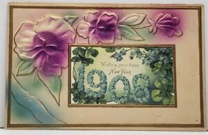 Embossed-Airbrushed-1908-Happy-New-Year-Gold-Gilded-Postcard-G15
