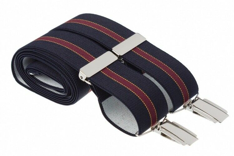 Navy Blue Striped Trouser Braces Suspenders Mens Strong Clips XL Extra Long