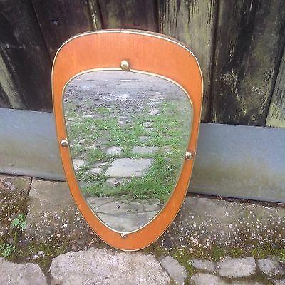 Vintage Retro Atomic Freeform Wood frame Mirror Wall Hanging Gumball Detail