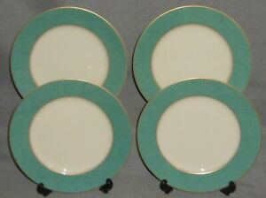 Set (4) Mikasa Fine China ESQUIRE TEAL PATTERN Salad Plates MADE IN JAPAN