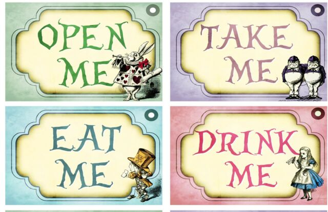 Eat me Drink me Take me Open me Alice in wonderland party wedding shower ribbon