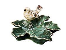 "Creative Co-Op Green Ceramic Leaf Dish w/Bird 5 1/2"" Jewelry Trinket Holder"