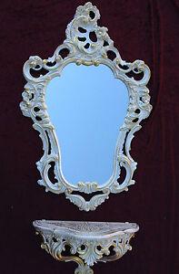 Specchio-Da-Parete-Barocco-Bianco-Oro-con-Consolle-Oggetto-d-039-antiquariato