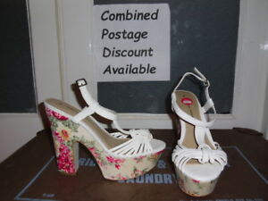 NEW-DOROTHY-PERKINS-White-Flower-High-Heel-Shoes-Size-6-Smart-Casual-Wedding